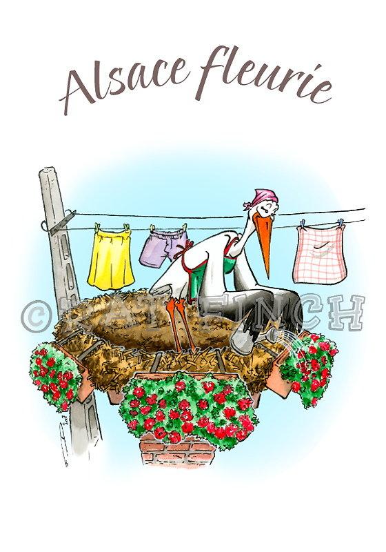 Cigogne Alsace Fleurie
