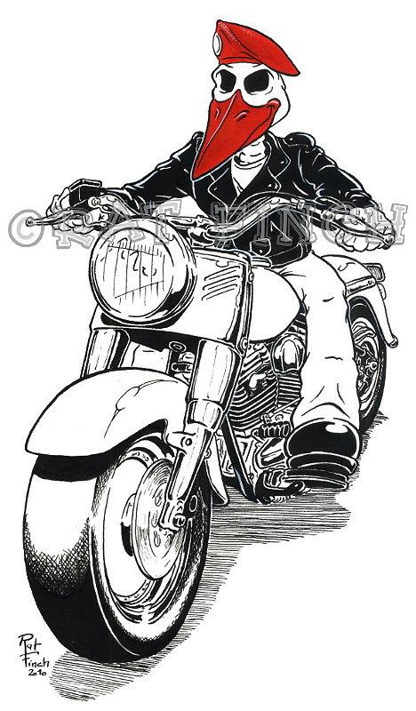 Cigogne Biker Béret Rouge 2